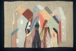 Hanging depicting three women in front of a cluster of houses, in browns, grays, blues, orange, yellow and white on a natural ground.