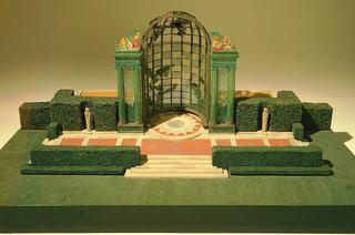 Model of garden with trellised gazebo, terrace, hedges, balustrades, etc.