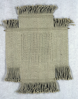 """Hanging called """"Cross"""" in double weave in grey linen.  Fringed on all four sides."""