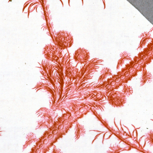 Fragment printed in red on white ground in a design of fantastic foliage.