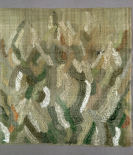 Panel of light brown embroidered in silks, metallic and tweed cord in a free-leaf design in shades of brown, green, white and orange.