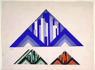 Three art deco designs in triangular shapes; a large triangle above with skyscraper-like ornament, and two smaller triangles below with same ornament in different colorways.