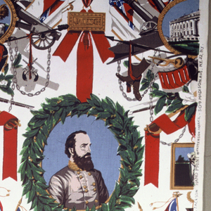 Assortment of motifs including Lee and Jackson within laurel wreaths, trophy of Confederate flags and military equipment, a magnolia flower. Multi-colors.