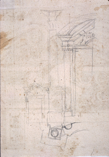 Loose architectural sketches. At right, half of a large doorway. At left, a column and smaller view of doorway. Suggestion of plan below.