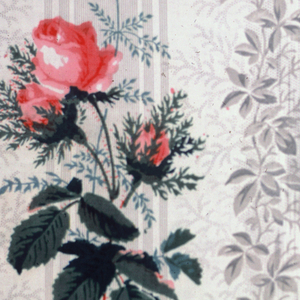 A) Grey ground of stripes and foliage over-printed in design of flowering vine. B) Similar ground to A but printed in clusters of natural size rosebuds.  C) Same ground effect as A but in blue; pattern over-printed of rose clusters with a birds nest and bird.