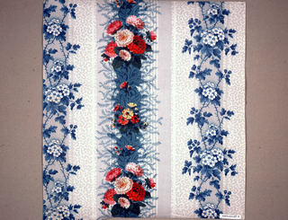 Sample in similar pattern to A with grey striped ground, vermicular pattern in grey, blue vine and white flowers, and stripe over-printed with close clusters of pink and red carnations, and smaller flower, rgeen foliage.