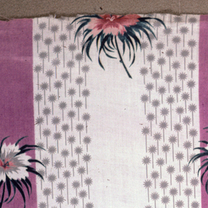 Ground uniformly striped in lavendar, white and grey, the grey consisting of a small geometric floral pattern on white. Overprinted with symmetrical pattern of pinks in lavendar, white, grey and green.