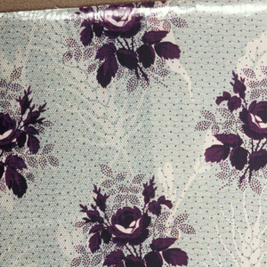"""Three samples with same ground and same or siilar patternsin different colors. A) Ground eleaborately decorated, probably by  """"molette,"""" in minute wavy lines and tan and dots and additional pattern in white of flowers and wheat; pattern printed over ground. C) Smaller scale flowers in violet on green ground. Glazed."""