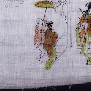 Original drawing done on voile for use as wallpaper and fabric design.  Four scenes of Japanese settings and figures are drawn in pen and ink, the clothing of the figures sketchily washed in with orange, yellow and pale brown watercolor.