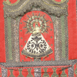 Flat hanging; red satin, embroidered in gold and silk with ornamentation by brilliants and sequins. Design: small figure of the Virgin in white, sacred initial on skirt and crown; Virgin's body in white silk stitches; Infant in arms. Rayed background to head. Architectural framework in various couched metals, canopy in relief. Border in couched metal and sequins.