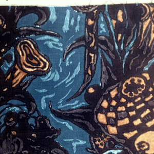 Vertical stripes of exotic plant forms and birds in bkack brown and blues.