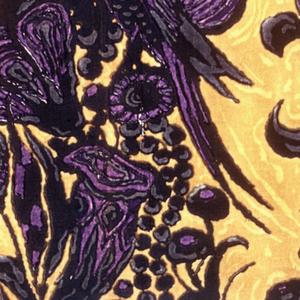 Vertical stripes of exotic plant forms and birds in purple, black orange and yellow.