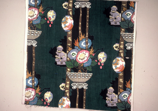 """""""Chinese"""" design of flowers and Chinese lanterns and foo dogs on dark green background."""