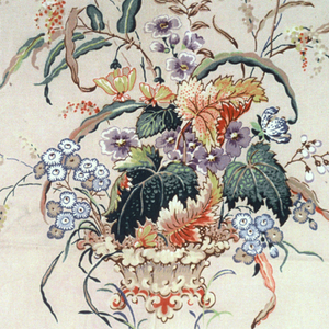 Isolated motifs of baskets and mounds of flowers on beige ground.