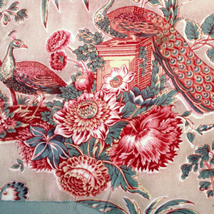 """Reproduction of early nineteenth century """"Bird under Palm Tree"""" style."""