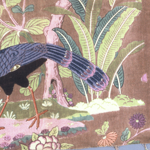 Asymmetrical pattern of flowers and leaves of oriental character, parrots and long legged bird; printed in shades of blue, violet, red and green against a brown ground.