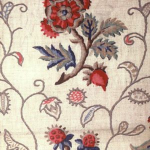 """Polychrome block print on natural linen """"cretonne"""". Alternation rows of small curling brown branches with red and brown flowers with blue and green leaves. Vertically twining, thin, grey serpentine vines separates individual branches. Condition: soiled."""