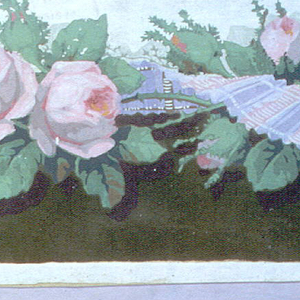 Central band containing twisted pink and lavender striped ribbon, intertwined with pink roses. Below the floral band is a background of green flock, above the band is the white ground.