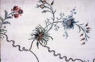 Length of ivory silk brocaded in gold metallic and colored silks in a spare pattern of tight squiggling vines with flowers and buds in pinks and blues.