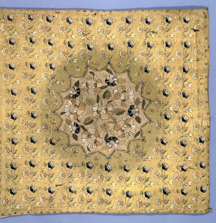 On a yellow wool ground is embroidered a pattern of vertical rows of flowering vines, centered by a large medallion representing a lotus pond (?). The ground fo the medallion is solidly filled by heavy strands of natural colored wool couched by silver wire. Stems of the allover pattern are worked in the same wool and silver. All other embroidered worked in fine silk chain stitch, outlined by darker colors. Flowers done in shades of blue, white, cream, and brown and decorated in spangles.