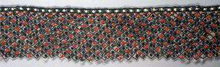 Beaded band with a narrow border of green and white beads with black and gold trim. Rows of beads in pink, red, green and purple individually framed by gold thread.