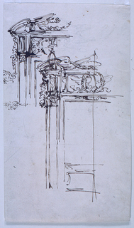 Two sketches of the upper left corner of a door frame.  The bottom center one also shows a draft for a crest with a bird at the top center of the frame.