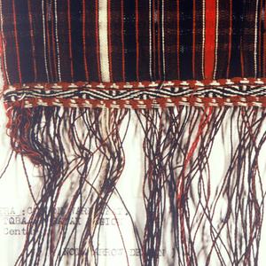 Loose-leaf notebook of ikat-dyed yarns and swatches of ikat fabrics from a variety of countries, including New Zealand, New Guinea, Indonesia, Turkestan, India, Germany, France, The Netherlands, Sweden, Madagascar, Mallorca, Italy, and Switzerland. Some photographs are included.