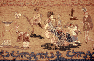 Central pale blue field with three borders: inner narrow, deep red; yellow main wide, and outer light blue. Pale blue field: central fountain within an architectural frame the foal point of which is a figure in a shell under a canopy, two horses and  a water nymph. This is a surrounded by Chinese-style figures in various poses and putti occupied by a variety of activities. Red inner border: A figure in each corner and a bowl of flowers in the center of each side. Yellow main border: Top - in the center, a female figure before a stove and brazier (representation of Winter?); left, woman holding a spear seated before trees with two dogs at her feet (Diana ?); right, standing female figure with Cupid and lamb (?) pierced by an arrow (?); extreme left and right, standing pseudo American Indian (?) holding an arrow.  Right - In center, a seated female figure holding grapes in one hand and a cup in the other with a kneeling winged figure offering a bowl filled with flowers (representation of Fall ?); to the right, figure seated under a canopy, kneeling figure holding an umbrella (?), standing figure, dog on a mound; extreme left and right, standing figure in European dress holding a spear.  Left - In center, a seated female figure holding a garland of flowers with fruit and a lion at her feet (representation of Summer?); to the left and right and extreme left and right, the same as in the border to the right.  Bottom: In center, a female figure seated on rocks holding wheat with a spade, watering can, sickle, and a rake at her feet (representation of Spring ?); to left and right an extreme left and right the same as in the top border. In each corner the Pious Pelican in a nest of thorns. In each bottom corner, a king seated on a canopied throne.   Outer blue border: Bouquet of flowers in each corner connected by a tasseled swag.   Entirely lined with linen (patched at top) included in the quilting and some of the embroidery.