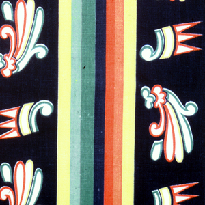 Fragment of alternating bands of multicolored stripes. One has yellow, orange, red, blue, green and chartreuse stripes, and the other band has two alternating geometrical and curvilinear motifs on a dark blue background.