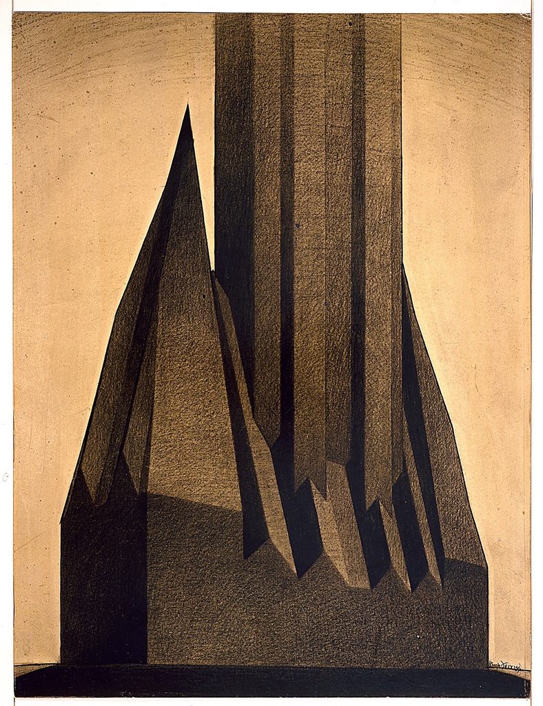 A back lit, dramatic dark sculptural form, rectangular at base tapering into points surrounding a tall central shaft.