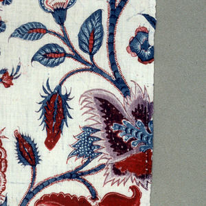 Fragment showing exotic flowers on blue stems.