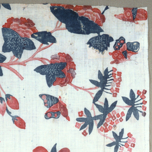 Tree trunk with exotic blossoms and birds. Part of a larger piece.