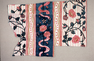 Stripes of roses and ribbons on different background. Three pieces sewn together.