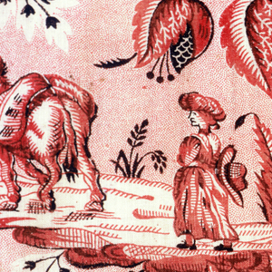 Fragment with a country scene of a windmill, a woman on a road and a house under a flowering tree. Pattern in red and black on a white ground with red picotage. Half-drop repeat.