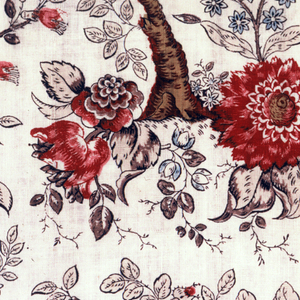 Fragment of printed cotton with a flowering tree in which a bird is perched; another small branch with roses fills the space above the tree, and large blossoms at the base of the tree.