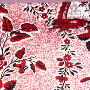 Fragment with a scenic motif of a stairway and fountain next to a group of flowers connected by floral swags. Pattern in red and black on a red picotage ground.