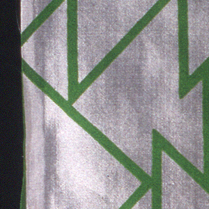 Varying size triangles, all facing one direction and randomly placed to form a pattern. Triangles of green outlines, printed on white.