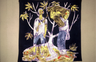 Design of a man holding a rake and a man carrying a box in front of a tree. On a deep blue background.