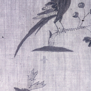 Horizontal rectangular panel of white linen embroidery and open work on a sheer white plain weave ground.  Motifs include vases of flowers, cupids with arrows, ships, roosters.  On the center line, two mermen with tridents riding sea monsters flanking a domed building.