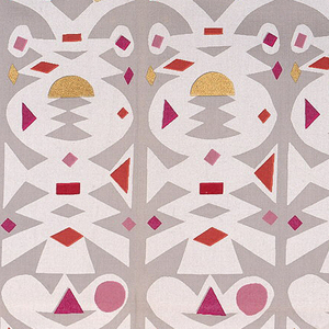 Columns of geometric forms resembling paper cutouts, printed in white on light gray, with accents of  gold, pink and red. Serged on all sides.