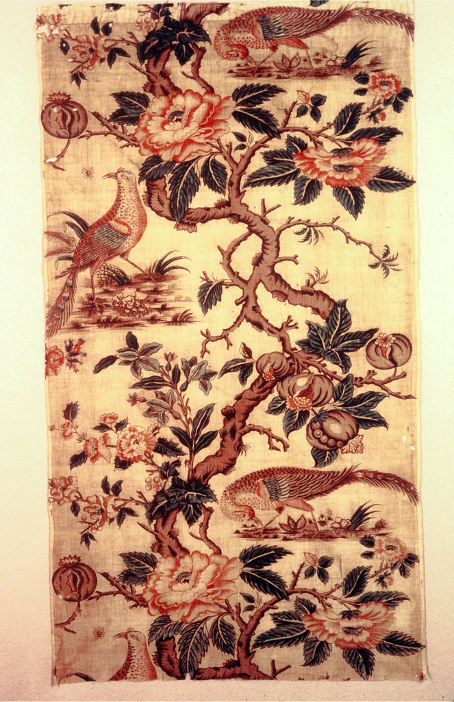 Thick angular tree with clusters of fruit and flowers meandering up center of fabric. Curves of the branch frame peacock or quail-like birds standing on small patches of earth. One bird about to snatch a spider dangling on a thread from a branch. Undyed background. Blue warps on left and right selvage.