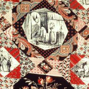 """Imitation patchwork organized as a square diamond lattice. The half dropped patterns are geometric, small scale floral, or paisley type. An octagonal medallion contains a bunch of flowers. Scenes from Pickwick Papers are included: """"Pickwick"""", """"Sam Looked at the Fat Boy"""", and """"Alarming position of Mr. Pickwick."""""""