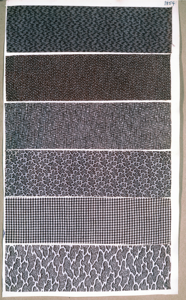 One of seven pages from a printed fabric sample book. Page is double-sided.
