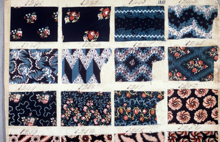 "48 Swatches of printed fabric (24 per side of page) each about 5.5 x 8 cm. (2 1/8"" x 3 1/8"") each numbered in pen and ink from 1241 through 1288. Small scale floral, geometric and fine stripped patterns in one to three colors. Ten samples of the ""Lapis"" technique. Yellow over blue for green. Page is double-sided"