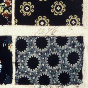 """48 Swatches of printed fabric (24 per side of page) each about 5.5 x 8 cm. (2 1/8"""" x 3 1/8"""") each numbered in pen and ink from 1241 through 1288. Small scale floral, geometric and fine stripped patterns in one to three colors. Ten samples of the """"Lapis"""" technique. Yellow over blue for green. Page is double-sided"""