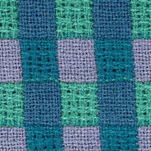 Three-quarter inch squares in blue, yellow-green, violet, and blue-green.