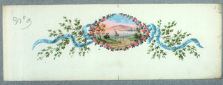 Scene of a lake in Northern Italy, mountain in distance, sailboat on lake, two figures in foreground on path to lake; oval scene framed by roses and green leaves, blue flowing ribbon extending from either side; inscribed on ribbons in pen and black ink, À Paris Exposition Universel Produit De l'Exposition De 1867