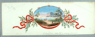 Scene of Northern Italian town on a lake, figures in foreground with fishing rods, sailboats on lake at center, town and mountain in background, bamboo border, oval shape; red ribbon and tree branches at either side; inscribed at lower center, pen and black ink Exposition Universel De 1867