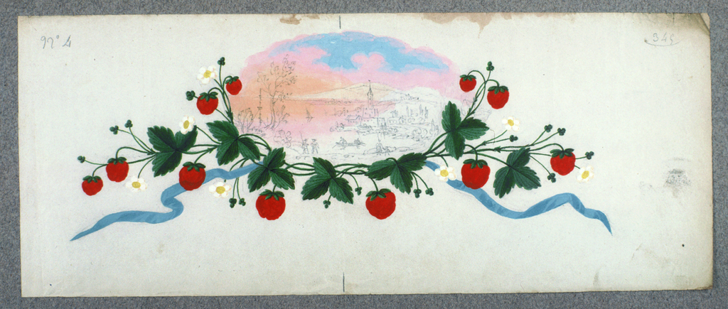 View of a Northern Italian lake town, drawn in graphite, oval shape; framed with strawberries, green leaves; flowing blue ribbon extending from either side