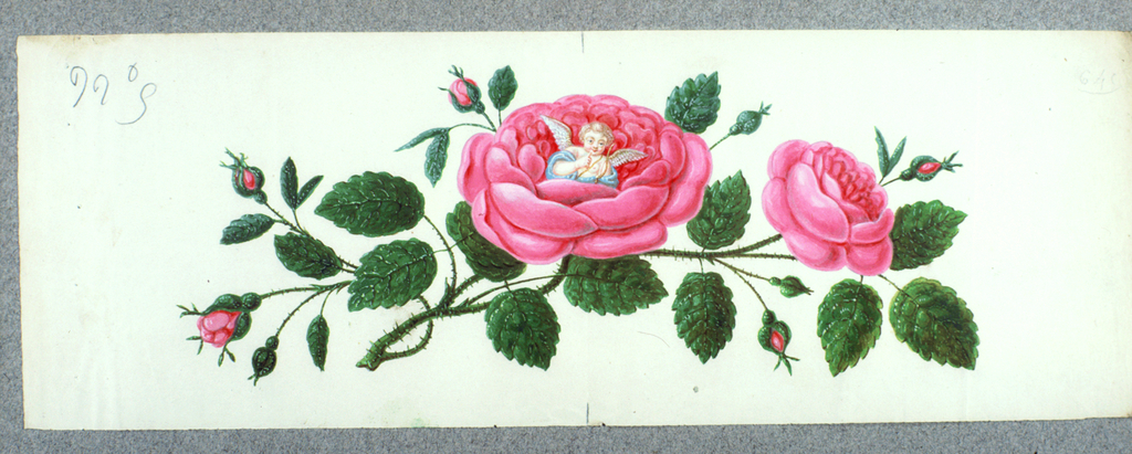 Branch of a rose with Cupid in the center of a large blossom
